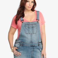 Torrid Overall Shorts - Light Wash with Destruction
