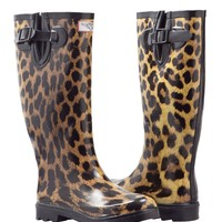 Women's Leopard Design Flat Wellies Rubber Rain & Snow Boots RainBoots