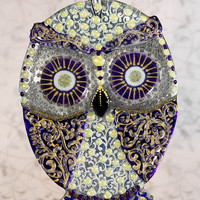 Handmade WOODLADN OWL glass fusing techniques gift lovers mothers sister family amulet talisman