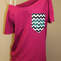 Frocket Pocket Off-the-Shoulder Shirt with Initials Chevron Cheetah