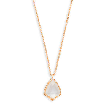 Cory Rose Gold Pendant Necklace Ivory Pearl | Kendra Scott