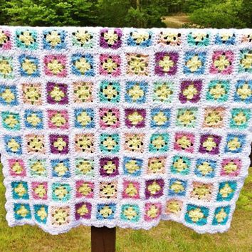Handmade Crochet Blanket, Granny Square Afghan, Lap Throw, Baby Blanket Boy or Girl, Knit Blanket, Colorful Couch Throw