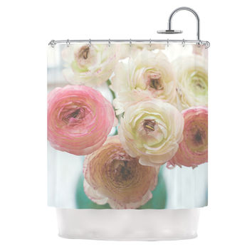 "Debbra Obertanec ""Pastel Ranunculus"" Pink White Shower Curtain"