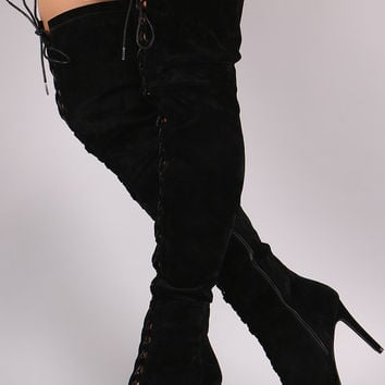 Wild Diva Lounge Velvet Lace-Up Over-The-Knee Boots