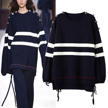 VON7TL Women's 2017 autumn and winter new shoulder strap loose loose sweater [189416472602]