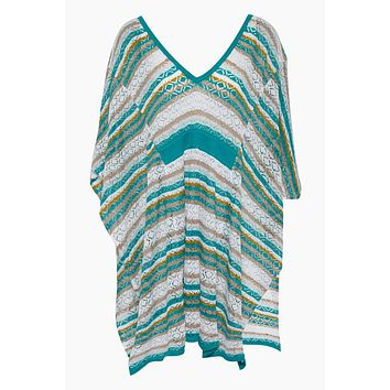Cannes Open Back Kaftan - Aqua Geometric Print