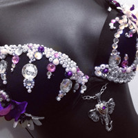 Purple Elephant- Ganesha deep plunge, Rave Wear, Rave, EDC, EDC Outfit, Festival Outfit, Rave Outfit, EDC Outfit