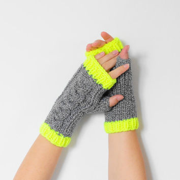 Neon Yellow Grey Cable Knit Mittens, Chunky Knit Mittens, Fingerless Neon Mittens