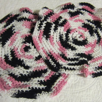 Crochet Dishcloth/Washcloth 100% Cotton Multi Color(Pink,Black&White) Round 2 For The Price Of 1