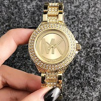 MK Micheal Kors Simple and fashionable female big word inserts diamond watch, leisure fashion quartz watch gold