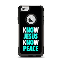 The Know Jesus Know Peace - White and Trendy Green Over Black iPhone 6 Otterbox Commuter Case Skin Set