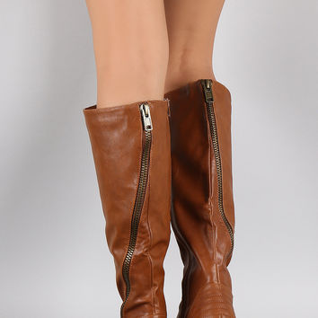 Bamboo Diagonal Zipper Riding Boots