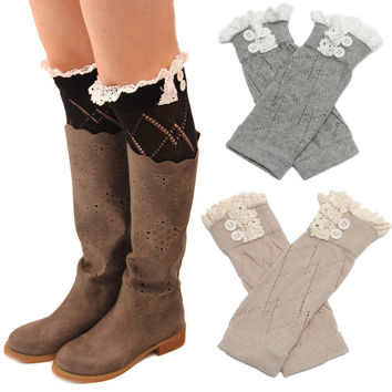 5pcs  Girls  Leg Warmers Knit Boot Cuffs Acrylic Cable Pattern Lace Boot Socks  Buttons Bontique Women Accessory Knitted Gaiters