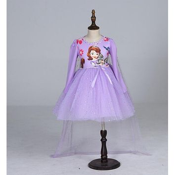 Lovely Baby Girls princess sofia Party Dresses Children Chiffon Dress And Cape Child clothes kids clothing long sleeve