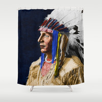Native American 1 White shield Arikara Shower Curtain by Blooming Vine Design