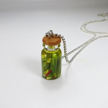 Pickle in Jar Polymer Clay Food Clay Pickle Gift Doll Food Miniature Charm Jar Charm Clay Resin Food Charm Green Food in a Jar Dill Pickle