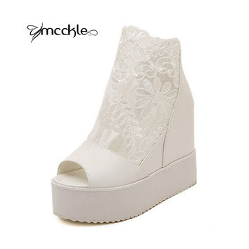 MCCKLE 2016 Summer Women Sandals Flat Platform Wedge Thick Heels Open Toe High Heel Lace flower Sandals black white silver J4034