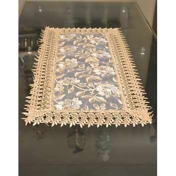 Beige Lace Table Doilies And Placemats Rectangle Set of 6