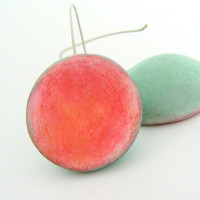 Coral pink, green mint air dry clay dome earrings, salmon pink, dry pastel, organic, sterling filled, by antigonicreations