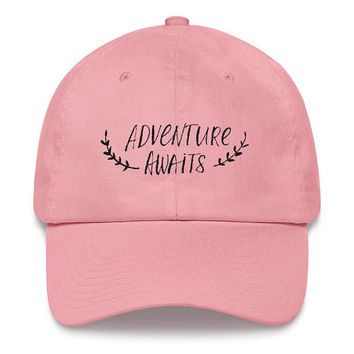 Adventure Custom Dad hats/ Baseball Hat Embroidery/ Custom Dad Cap/ Cotton Hat/ Embroidered Hat/ Tumblr Hats/ Workout Hat Gift For Traveler