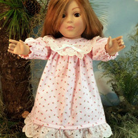 American Girl Flannel Nightgown, Fits Springfield, Madame Alexander, 18 Inch Dolls, Pink Rosebud Print