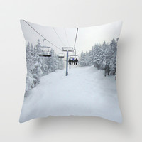 Skiing Vermont Throw Pillow by BACK To BASICS