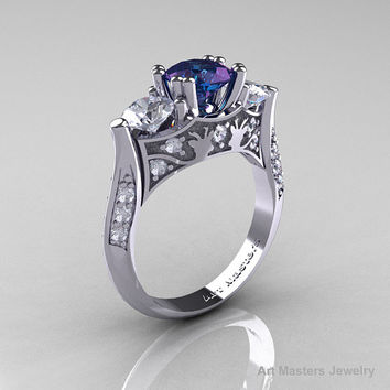 Nature Inspired 14K White Gold Three Stone 2.0 Ct Chrisoberyl Alexandrite White Topaz Diamond Solitaire Wedding Ring Y230-14KWGDWT2AL