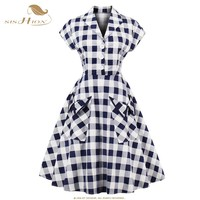 SISHION 2017 Short Sleeve Swing Sexy Party Vintage Plaid Dresses 50s 60s Plus Size Autumn Rockabilly Dresses With Pocket VD0614