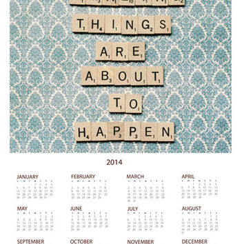 2014 year at a glance wall calendar- scrabble letters, typography, whimscial, inspirational, photo calendar, scrabble tiles, quote