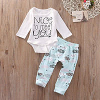 2016 Newborn Infant Baby Girl Boy Outfit Clothes Romper Jumpsuit Long Pants 2PCS Set baby boy christmas clothes