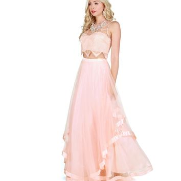 Sierra Pink Lace Prom Dress