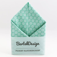 Pocket Handkerchief by BartekDesign: mint green white flower print pastel wedding grooms chic pocket square pochet