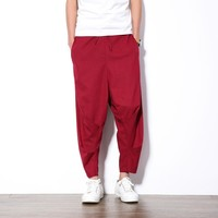 Summer Red Casual Pants Men Loose Deep Crotch Ankl-Length Harem Pants Male Fashion Streetwear Boys Hip Hop Pants Men 5XL