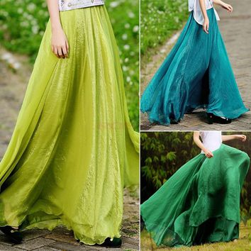 Skirts Retro Lady Full Circle Boho Gauze Chiffon Long Skirt Pleated Long Maxi Skirt Women Sexy Summer