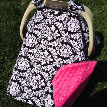 Baby Car Seat Cover - Hot PINK and Black DAMASK