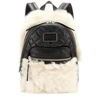 Shearling-trimmed leather backpack