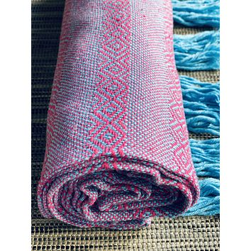 Mexican Rebozo Shawl - Pink Turquoise