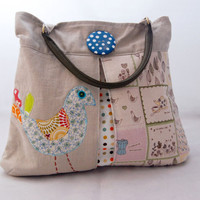 Very Pretty Applique Bird Bag With Pleats Made by onceinthenorth