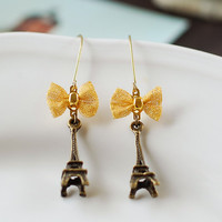 Eiffel Tower Earrings Antique Bronze Eiffel Tower with by LeChaim