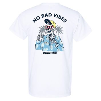Coastlines Designs No Bad Vibes Endless Summer on a White T Shirt