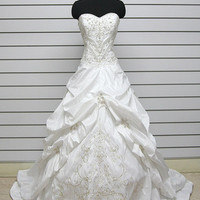 A-line Strapless Chapel Train Satin Embroidery Wedding Dress