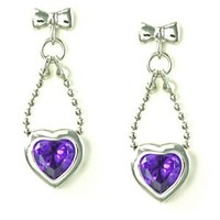 Bow Knot and Bead Chain with Bezel Heart Purple CZ Drop Stud Earrings