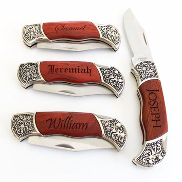1 Engraved Groomsman gift Custom Pocket Knife Personalized Groomsmen Gift Custom Fathers Day gift Engraved Knife Mens Christmas Gift