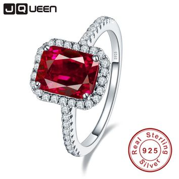 Hot 3.6ct Pigeon Blood Red Ruby Engagement Wedding Ring Pure Solid 925 Sterling Silver Square Cut Fine Jewelry with box