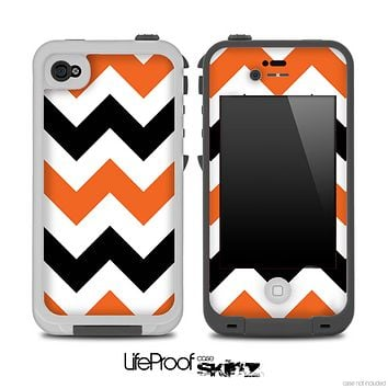 Black & Orange V2 Chevron Pattern Skin for the iPhone 5 or 4/4s LifeProof Case