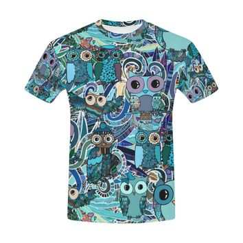 Hand Drawn Floral Pattern With Owls All Over Print T-Shirt for Men (USA Size) (Model T40)
