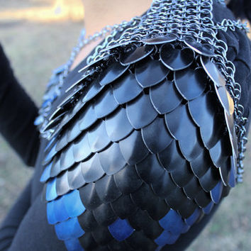 Dragon Scale Shoulder Pauldrons, Stormborn Scalemaille, Fantasy Armor, Post Apocalyptic Festival Cosplay Larp