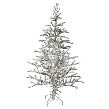 5' Pre-Lit Flocked Alpine Coral Artificial Christmas Tree - Warm White Lights