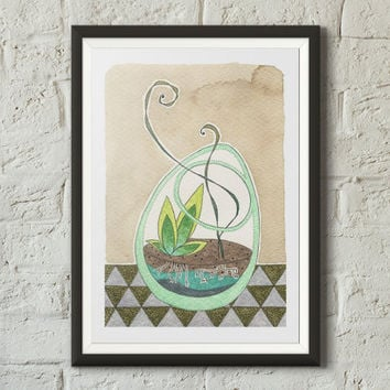 Cute terrarium fine art print illustration, Floral art, Botanical art, Bowl, Coffee stains, Succulents, Watercolor, Sharpie, Vivid colors
