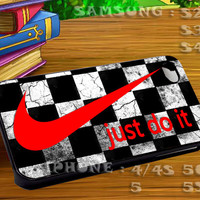 Nike Just Do It Checkers Art For iphone 4 iphone 5 samsung galaxy s4 / s3 / s2 Case Or Cover Phone.